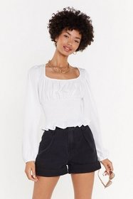 Nasty Gal Womens White Rest A-shirred Gathered Cro