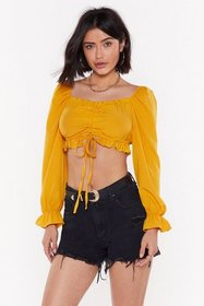 Nasty Gal Womens Mustard Give Me the Good Puff Ruc
