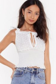Nasty Gal Womens White Oh Happy Anglaise Shirred B