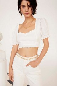 Nasty Gal Womens White Cup Nothing Linen Crop Top
