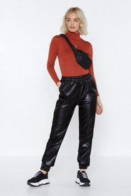 Nasty Gal Womens Black Saturday Night Faux Leather