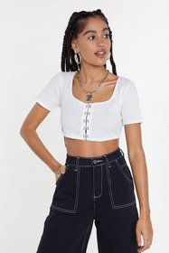 Nasty Gal Womens White Ribbed Hook and Eye Crop To