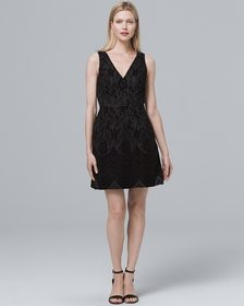 Aidan Mattox Flocked Lace A-Line Dress