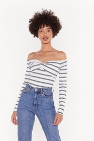 Nasty Gal Womens White All Stripes of Fun Off-the-