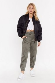 Nasty Gal Womens Khaki On the Car-go Relaxed Pants