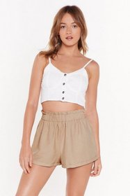 Nasty Gal Womens Taupe Elastic Waist Linen Shorts
