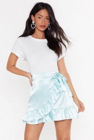 Nasty Gal Womens Mint Anything Can Satin Wrap Skir