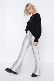 Nasty Gal Womens Taupe Whatever It Snakes Flare Pa