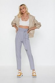 Nasty Gal Womens Blue Check In High-Waisted Paperb