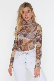 Nasty Gal Womens Taupe Painted Love Mesh High Neck