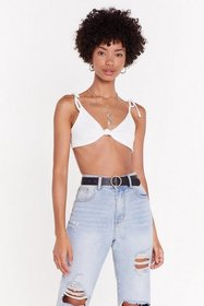 Nasty Gal Womens White Knot Yourself Out Ribbed Kn