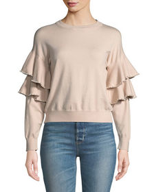 Stellah Pearly-Trimmed Ruffle-Sleeve Sweater