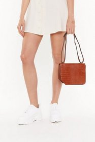 Nasty Gal Womens Brown WANT Croc Your Baby Crossbo
