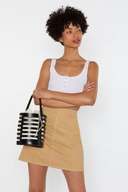 Nasty Gal Womens Black WANT Bucket In Faux Leather
