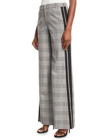 Alice + Olivia Bo Side-Stripe Wide-Leg Plaid Pull-