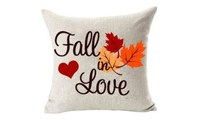 Home Decor Fall in Love Cotton Linen Pillow Covers