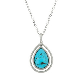 """""""As Is"""" Kingman Turquoise Sterling Pendant on 18"""""""