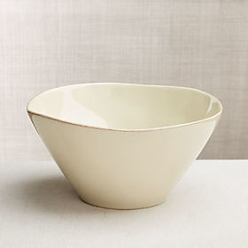 Crate Barrel Marin Cream Serving Bowl