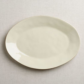 Crate Barrel Marin Cream Large Oval Platter