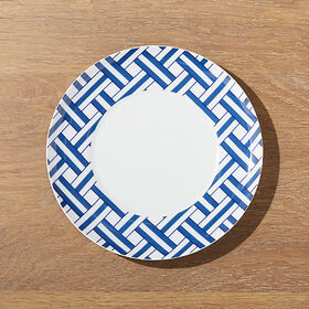 Crate Barrel Indigo Basketweave Dessert Plate