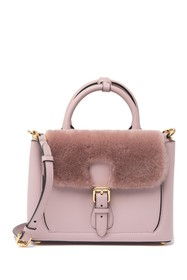Burberry Genuine Fur & Leather Satchel