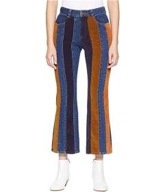 See by Chloe Striped Mixed Media Jeans in Multicol