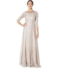 Tahari by ASL Long Sleeve Stretch Lace Gown with E