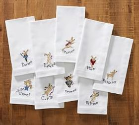 Pottery Barn Reindeer Napkins, Set of 9