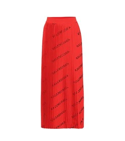 Balenciaga Allover Logo pleated knit midi skirt