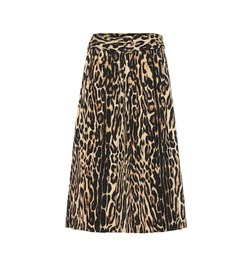 Burberry Leopard-printed stretch silk skirt