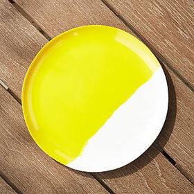 Crate Barrel Dua Yellow Melamine Plate