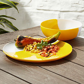 Crate Barrel Dua Yellow Melamine Dinnerware
