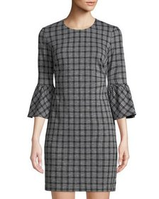 CALVIN KLEIN Plaid Ponte Flare-Sleeve Shift Dress