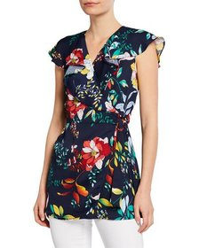 Neiman Marcus Floral Wrap Ruffle-Neck Tunic