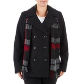 LONDON FOG Wool-Blend Pea-coat with Plaid Scarf