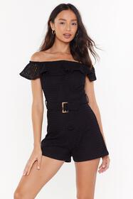 Nasty Gal Womens Black Broiderie Bardot Belted Pla