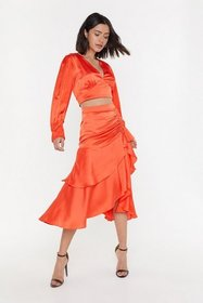 Nasty Gal Womens Red Waves of Emotion Satin Midi S