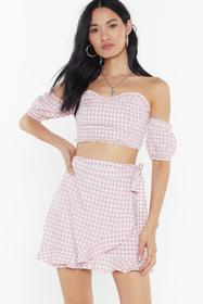 Nasty Gal Womens Pink Wrapping on the Job Gingham