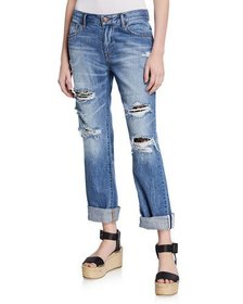 BCBGeneration Distressed Jeans w/ Lace Underlay
