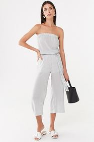 Forever21 Strapless Pinstriped Jumpsuit