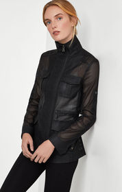 BCBG Bronnen Perforated Open-Back Jacket