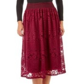 Lace Midi Skirt with Crocheted Waist