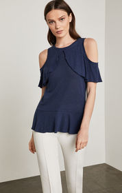 BCBG Cold-Shoulder Ruffle Overlay Top