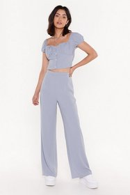 Nasty Gal Womens Blue Feel the Power Wide-Leg Pant