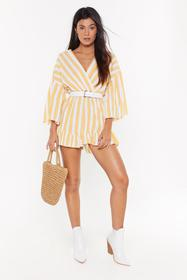 Nasty Gal Womens Yellow Love at First Stripe V-Nec