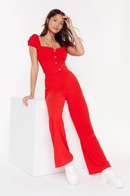 Nasty Gal Womens Red Feel the Power Wide-Leg Pants
