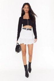 Nasty Gal Womens White Broderie Awesome Rufle Mini