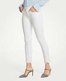 Petite Lace Hem Skinny Ankle Jeans in White