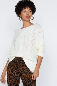 Nasty Gal Womens Cream Love on Top Cable Knit Swea
