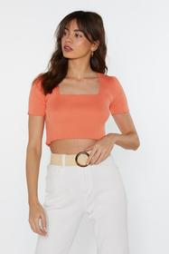 Nasty Gal Womens Coral Square Neck Ribbed Knitted